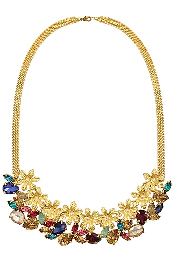 Gold plated Redolance Anestasia Neckgarland/ necklace by Ornamas By Ojasvita Mahendru