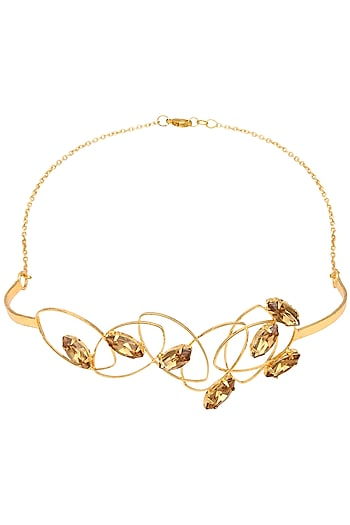 Gold plated Lotusazia Topaz choker by Ornamas By Ojasvita Mahendru
