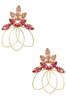 Gold finish Pink Ombre Bouquet Earrings by Ornamas By Ojasvita Mahendru