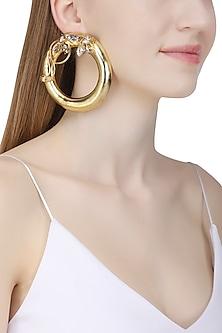 Gold Plated Drumroll Viti Stem Earrings by Ornamas By Ojasvita Mahendru