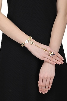 Gold Plated Trellis Hand Harness by Ornamas By Ojasvita Mahendru