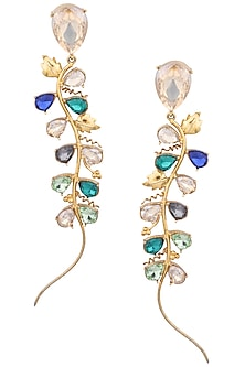 Gold Plated Trellis Petal Earrings by Ornamas By Ojasvita Mahendru