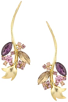 Gold Plated Inflorescence Flower Vine Earrings by Ornamas By Ojasvita Mahendru
