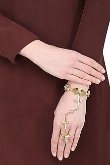 Gold Plated Trellis Semi Precious Stone Hand Harness by Ornamas By Ojasvita Mahendru