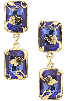 Gold Plated Blue Vine Leaf Earrings by Ornamas By Ojasvita Mahendru