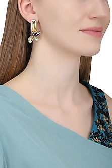 Gold Plated Vitis Vinifera Rootstock Earrings by Ornamas By Ojasvita Mahendru
