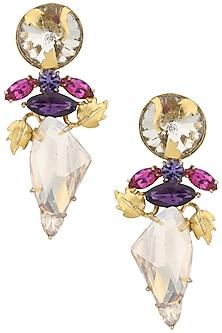 Gold Plated Floral Vine Bud Earrings by Ornamas By Ojasvita Mahendru