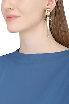 Gold Plated Spike Trellis Earrings by Ornamas By Ojasvita Mahendru