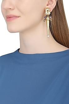 Gold Plated Spike Trellis Earrings by Ornamas By Ojasvita Mahendru