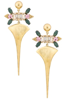 Gold Plated Floral Vinifera Earrings by Ornamas By Ojasvita Mahendru