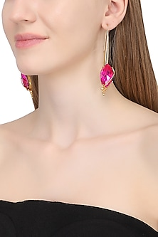 Gold Plated Floral Vinifera Magenta Marquis Earrings by Ornamas By Ojasvita Mahendru