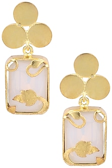 Gold Plated White Opal Vinifera Block Earrings by Ornamas By Ojasvita Mahendru