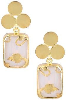 Gold Plated White Opal Vinifera Block Earrings by Ornamas By Ojasvita Mahendru