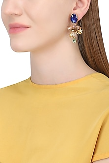 Gold Plated Floral Vinifera Earrings With Blue Tops by Ornamas By Ojasvita Mahendru