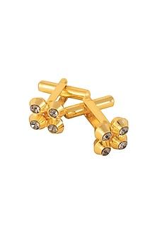 Gold Plated Drum Shaped Stone Cufflinks by Ornamas By Ojasvita Mahendru