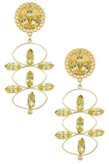 Gold Plated Redolance Jonquil Beau Earrings by Ornamas By Ojasvita Mahendru
