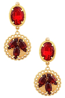 Gold Plated Petal Pristy Red Earrings by Ornamas By Ojasvita Mahendru
