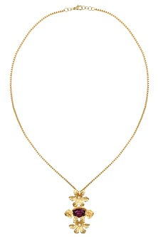 Gold Plated Voilet Stone Rosetta Pendant Necklace by Ornamas By Ojasvita Mahendru