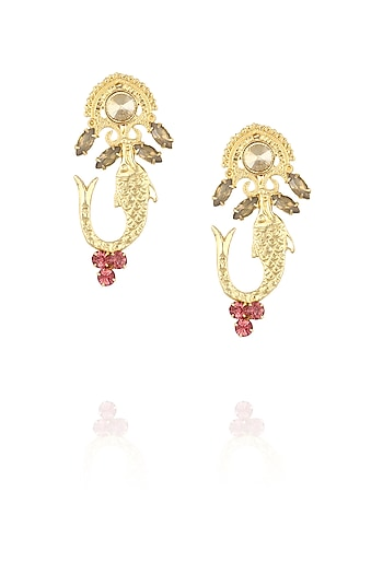 Gold plated fish motif earrings with pink stones by Ornamas By Ojasvita Mahendru