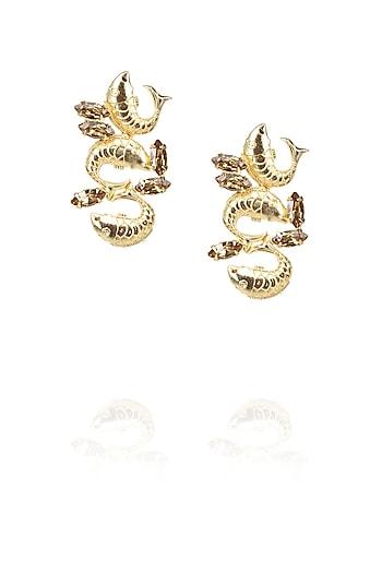 Gold plated trio fish motif earrings with brown topaz stones by Ornamas By Ojasvita Mahendru