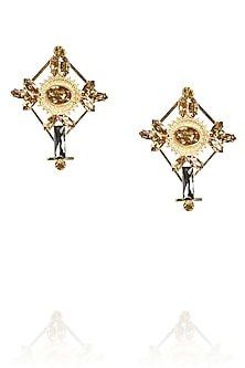 Gold plated cross shaped earrings with black topaz stones by Ornamas By Ojasvita Mahendru