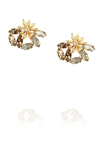 Gold plated star anise stud earrings with sand opal and topaz stones by Ornamas By Ojasvita Mahendru