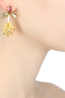 Gold plated inverted flower earrings by Ornamas By Ojasvita Mahendru