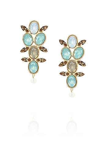 Gold plated disco pop earrings with jade and white opal stones by Ornamas By Ojasvita Mahendru