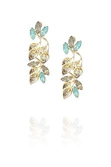 Gold plated leaf motif earrings with jade opal stones by Ornamas By Ojasvita Mahendru
