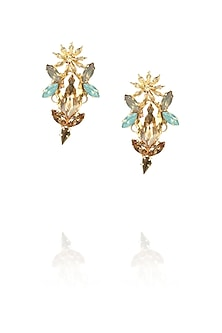 Gold plated star anise motif earrings by Ornamas By Ojasvita Mahendru