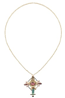 Gold Plated Stone Embellished Cross Shaped Long Chain Necklace by Ornamas By Ojasvita Mahendru