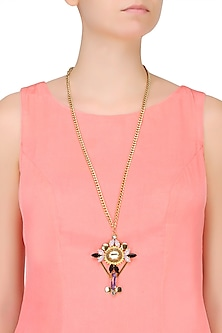 Gold Plated Cross Shaped Long Chain Necklace by Ornamas By Ojasvita Mahendru