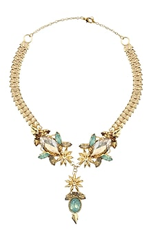 Gold Plated Star Anise And Opal Stone Neckpiece by Ornamas By Ojasvita Mahendru