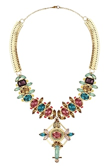 Gold Plated Green, Purple, Pink And Topaz Stones Necklace by Ornamas By Ojasvita Mahendru