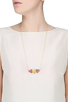 Gold Plated Star Anise And Pink Stone Pendant Necklace by Ornamas By Ojasvita Mahendru