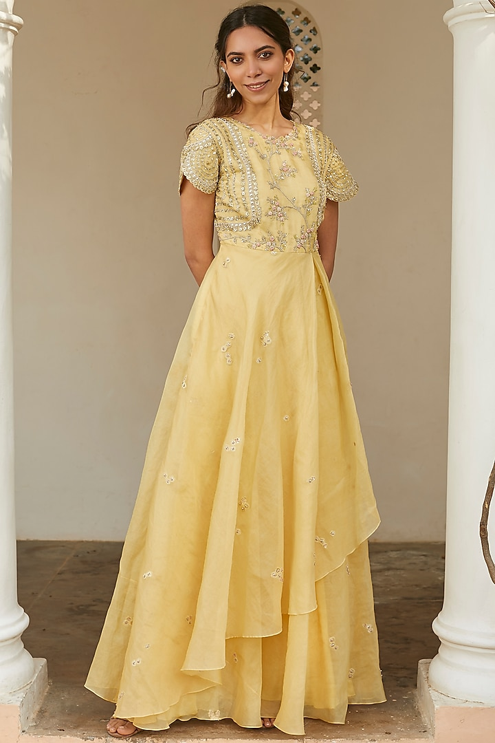 Taupe Lemon Embroidered Dress by OSAA By Adarsh