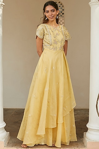 Taupe Lemon Embroidered Dress by OSAA - By Adarsh