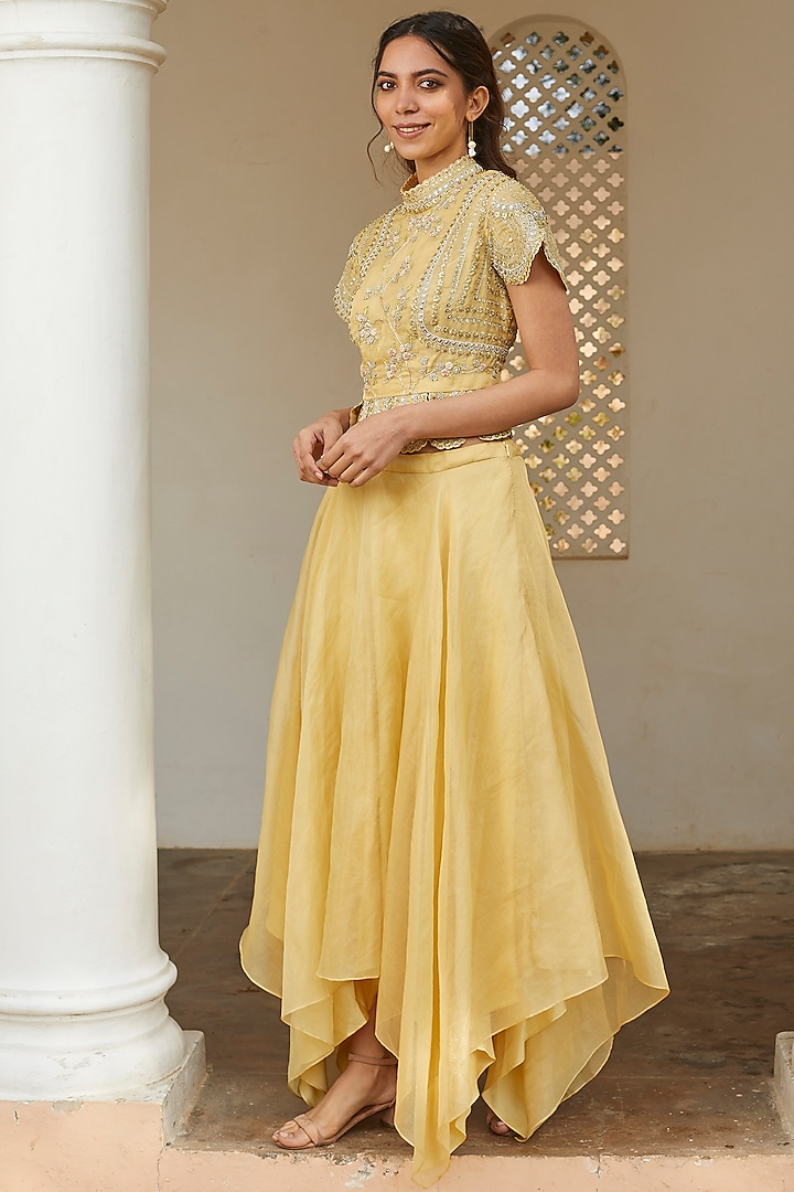 Taupe Lemon Embroidered Skirt Set by OSAA By Adarsh