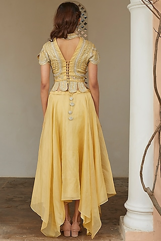 Taupe Lemon Embroidered Skirt Set by OSAA - By Adarsh