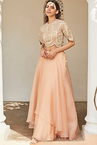 Sepia Rose Embroidered Skirt Set by OSAA - By Adarsh