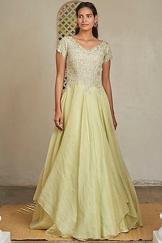 Mint Green Embroidered Gown by OSAA - By Adarsh