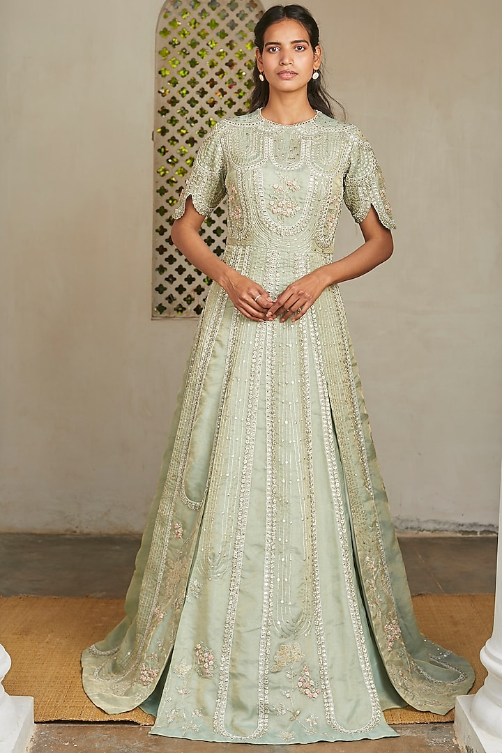 Frost Blue Embroidered Gown by OSAA By Adarsh