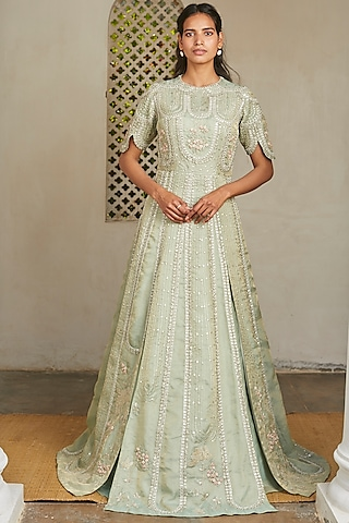 Frost Blue Embroidered Gown by OSAA - By Adarsh
