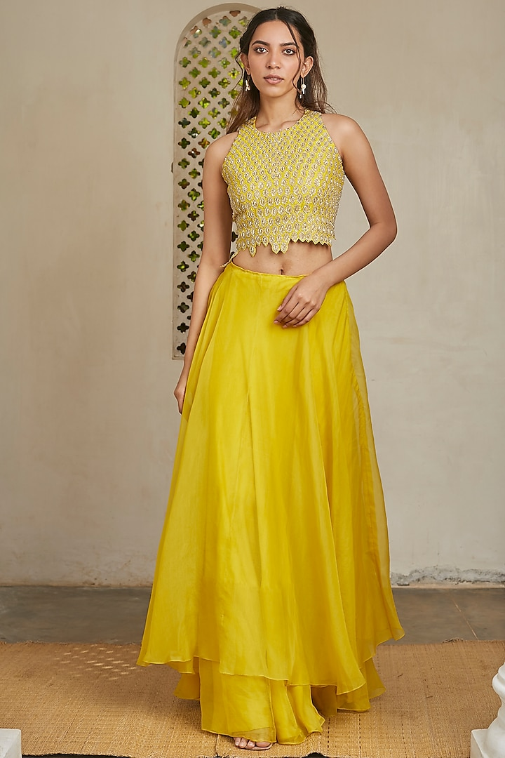 Amber Green Hand Embroidered Skirt Set by OSAA By Adarsh