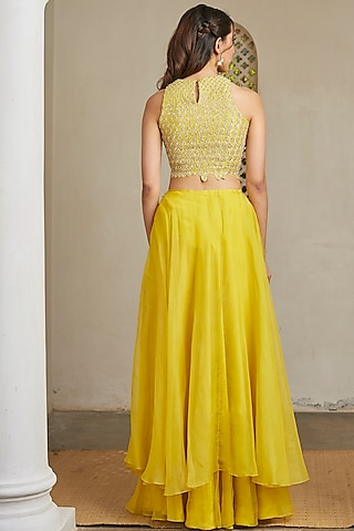 Amber Green Hand Embroidered Skirt Set by OSAA - By Adarsh