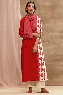 Red Embroidered Kurta With Striped Dupatta by Vaayu