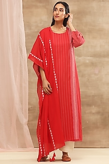 Red Striped Kurta With Embroidered Dupatta by Vaayu