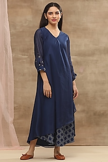 Blue Printed & Embroidered Dress by Vaayu