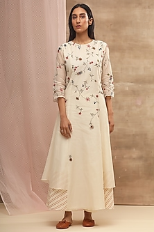 Ivory Aari Embroidered Dress by Vaayu