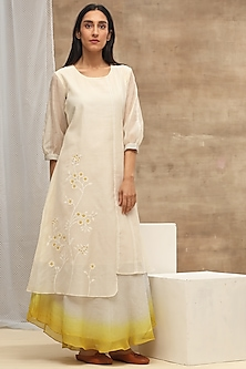 Ivory & Yellow Embroidered Ombre Dress by Vaayu